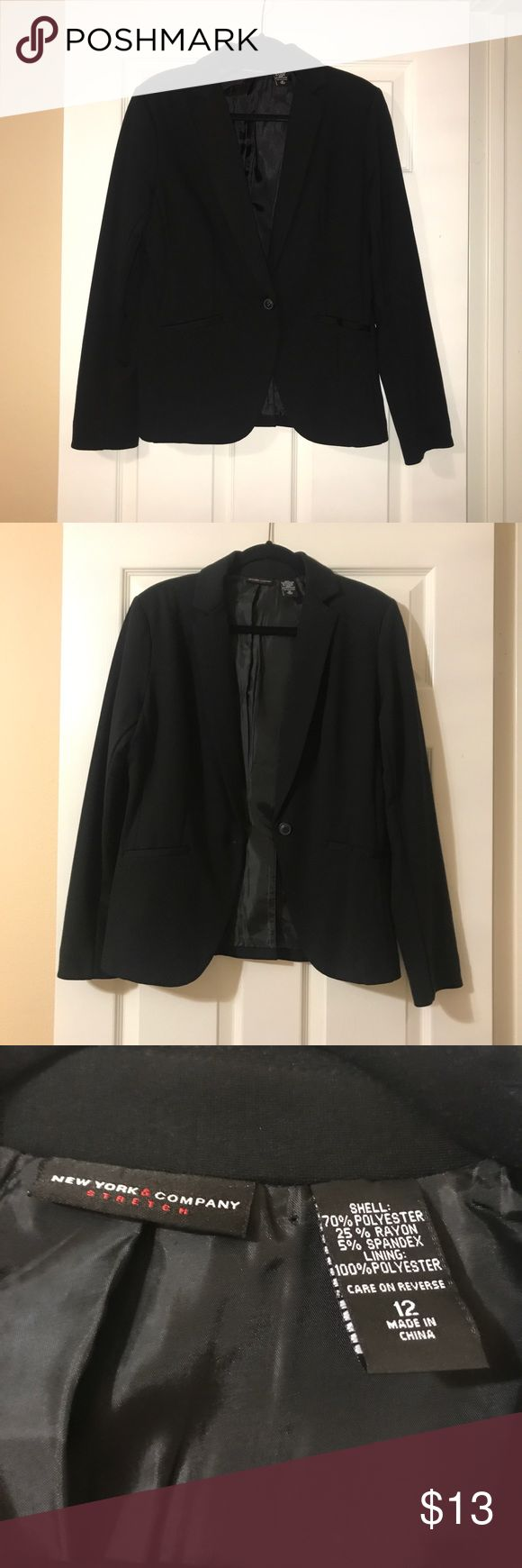 New York & Company Black Blazer Purchased some time in 2008 for around $60. Worn twice. Has no flaws or signs of wear at all.   Sizing runs true to size. My mom wore this she's 5'9, weighs about 170 pounds with 36D breasts and this fit her perfectly!   N O TRADES!! NO MODELING!! PRICE IS FAIR, FIRM & FINAL!! ALL OFFERS WILL BE DECLINED! New York & Company Jackets & Coats Blazers