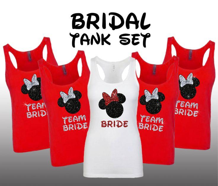 Disney Minnie Bride party set bridesmaid bridal bachelorette Tank wedding team bride Matching shirts Burnout Shirt Top razor cute Burnout by BranchBirds on Etsy https://www.etsy.com/listing/238150312/disney-minnie-bride-party-set-bridesmaid