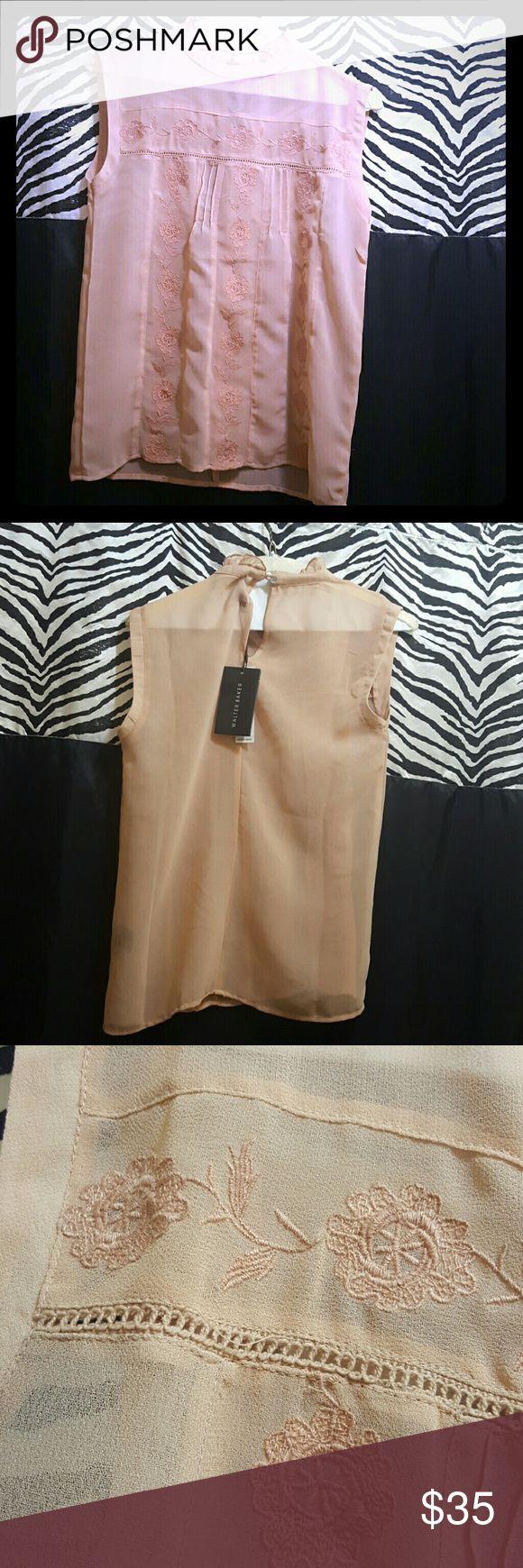 Walter baker blouse Walter Baker sleeveless pink Molly top. Light embroidered pink blouse. Walter Baker Tops