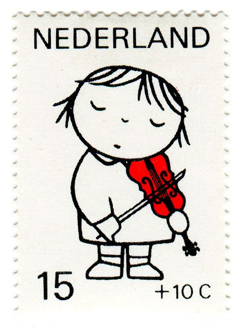 """stampdesigns: Netherlands Postage Stamp: Dick Bruna, violin c. 1969 designed by Dick Bruna """"designs for children's postage stamps based on the theme of child and music"""" —descriptive text found in my copy of Dick Bruna"""
