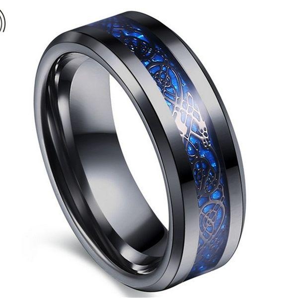 Fashion Men/'s Silver Celtic Dragon Titanium Stainless Steel Wedding Band Rings