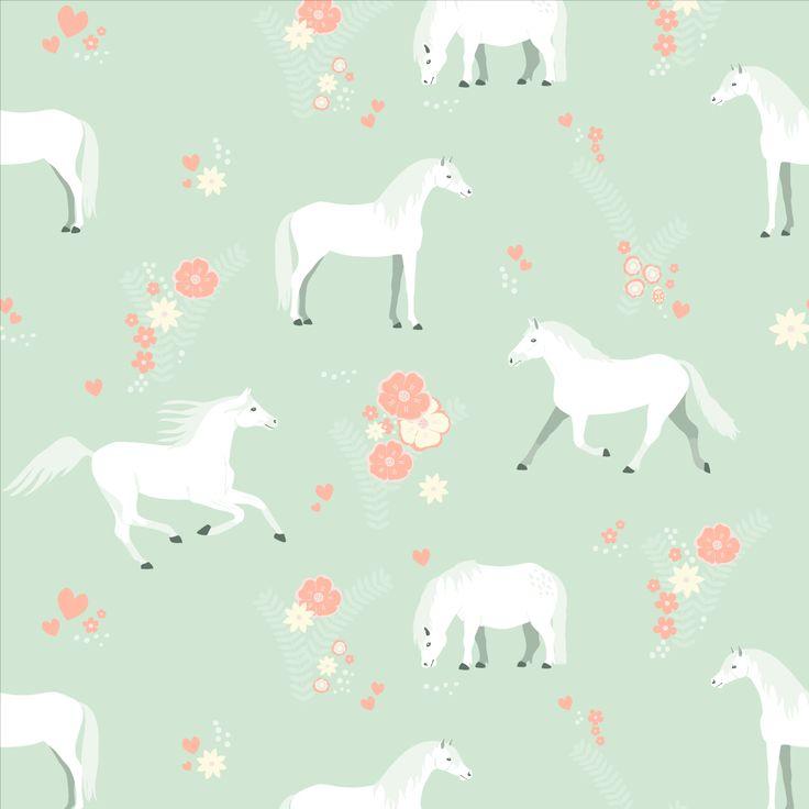 Kinderkamer behang paarden #kidswallpaper #horses   Perron 11