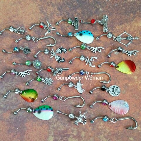 Country, Hunting, and Fishing Belly Rings by Gunpowder Woman !!  www.etsy.com/shop/gunpowderwoman Country country girl gunpowderwoman farm girl camo realtree mossy oak guns bullet jewelry bullet belly ring fishing jewelry archery firearms Miranda lambert