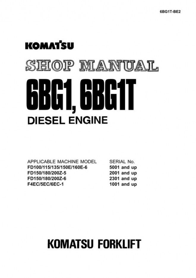 Komatsu 6BG1, 6BG1T Diesel Engine Shop Manual - 6BG1T-BE2