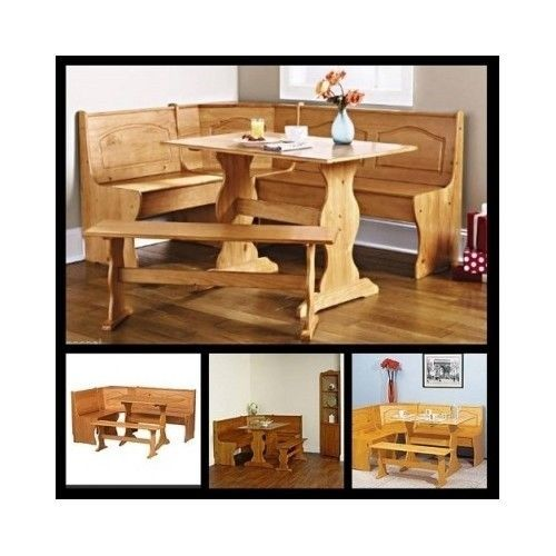 Corner Dining Set Kitchen Breakfast Nook Wooden Table Bench Storage Benches Seat