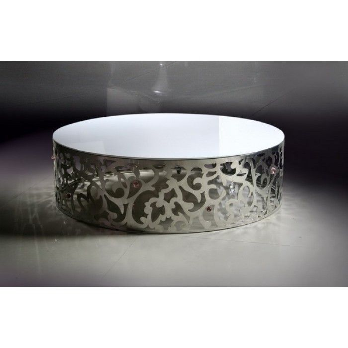 840 Modern Stainless Steel Floral Pattern Round Coffee Table