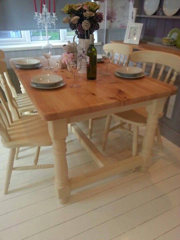 Beautiful Shabby Chic Solid Pine Farmhouse Table and Chairs set. Painted with Annie Sloan chalk paint in the 'Cream' shade. Sympathetically distressed and a clear wax finish. Another stunning set by Chic Boutique Furniture, Leicester