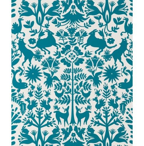 Emily isabella for hygge west otomi in turquoise - Turquoise wallpaper pinterest ...