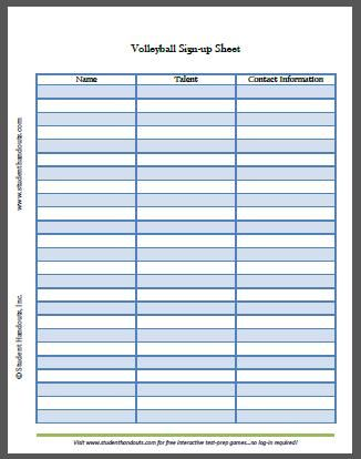 Free Printable Volleyball Sign-up Sheet Student Handouts - sign out sheet template