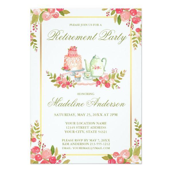 Retirement Party Green Script Floral Invitation  Floral