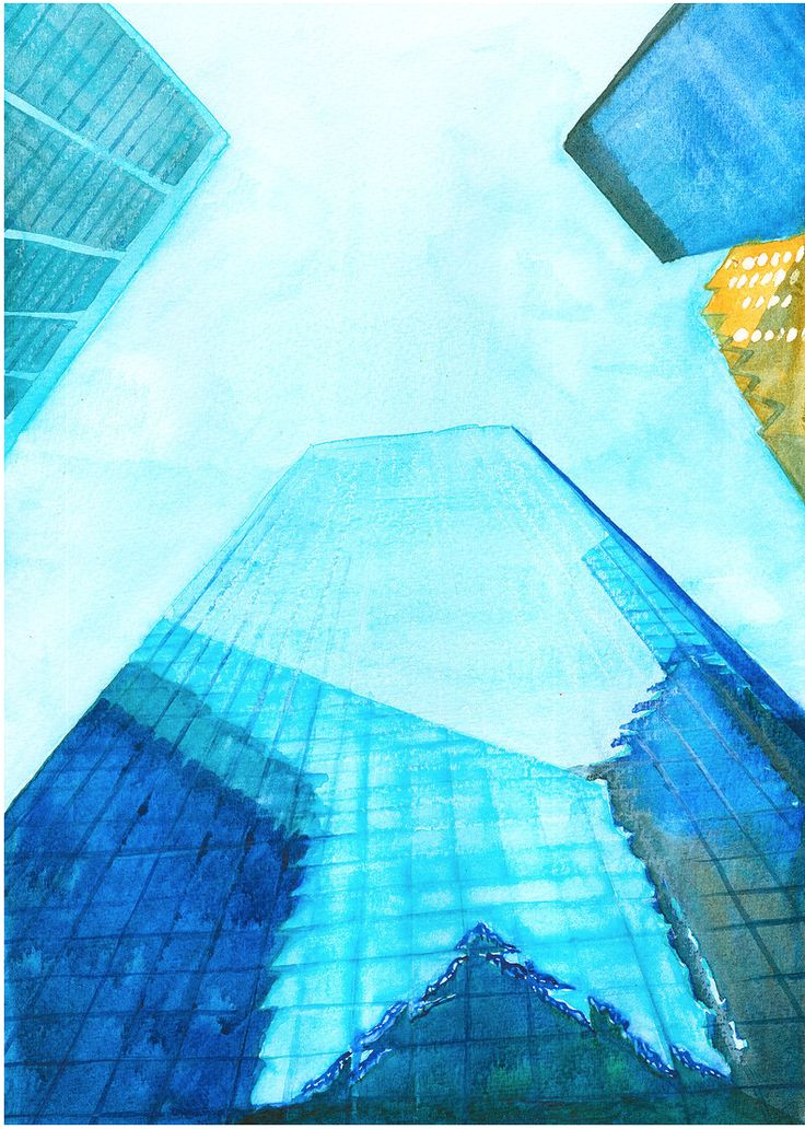Skyscrapers of New York City by Artoutloop #watercolor #painting #illustration #urban #сityscape #newyorkcity #blue #architecture #building
