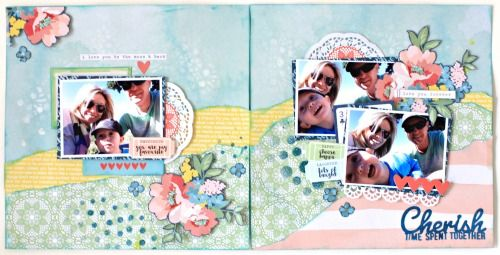 """Cherish Time Spent Together"""" Kaisercraft Finders Keepers Layout by Alicia McNamara"""