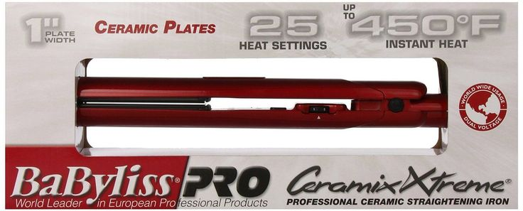 "Babyliss Pro Dual Voltage Hair Straightener 1"" Ceramix Xtreme Red Bab9555X"