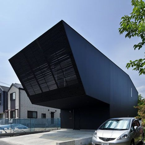 This Japanese house features a pointy overhang.