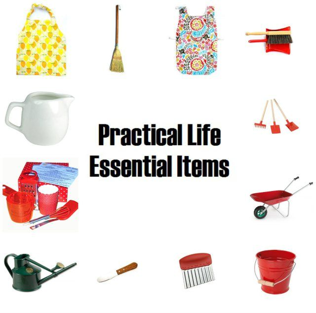 Practical Life collage - all these items are essential items for any 2 year old.
