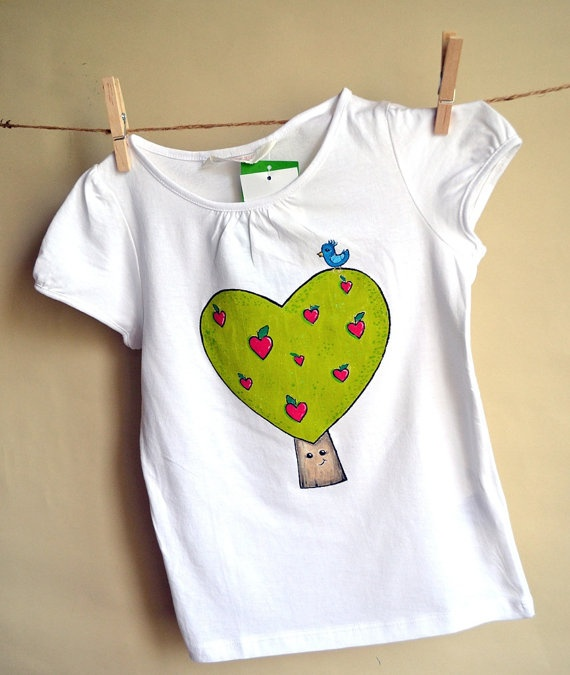 Handpainted white Tshirt with heartshaped green tree by maLOVEnia, $23.00