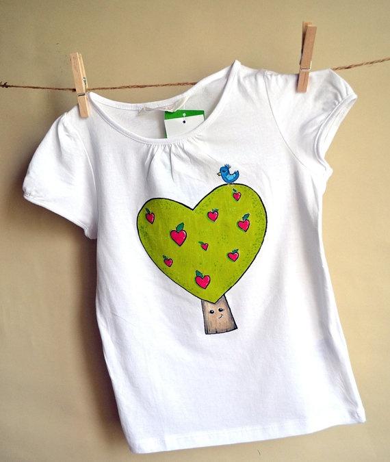 Handpainted white Tshirt with heartshaped green tree by maLOVEnia, $23.00