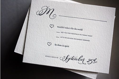 """Proper Way To Stuff Wedding Invitations: RSVP Cards Wording. """"be There In Spirit"""""""