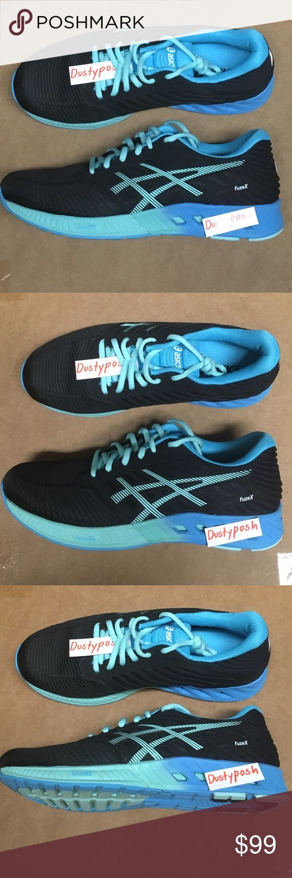 Asics FuzeX Running Sneakers Shoes Black Blue New Size 8 1/2, floor model. Asics Shoes Sneakers