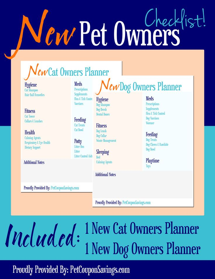 Free Printables: New Pet Owners Planner. New dog owners and cat owners checklist. Great for new pet parents! Take with you to animal shelters or adoption events to help new pet owners know where to get started with their animal's care.