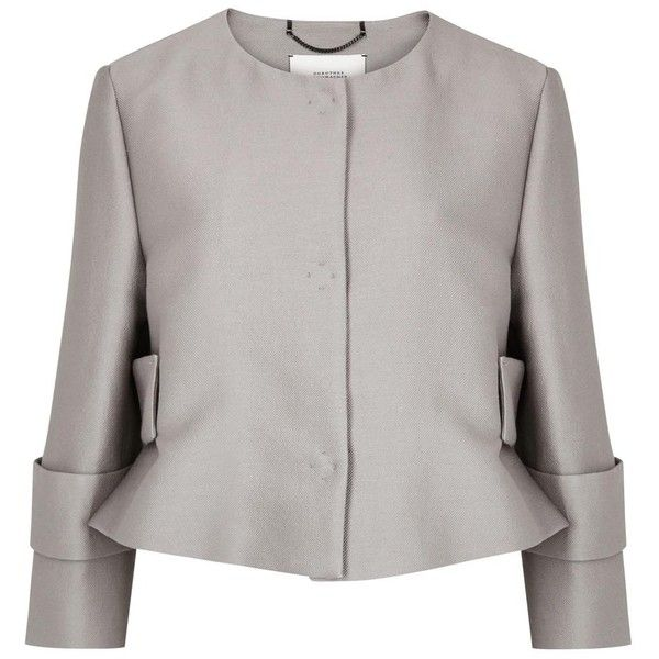 Womens Evening Jackets Schumacher Grey Cropped Cotton Blend Jacket ($565) ❤ liked on Polyvore featuring outerwear, jackets, evening jackets, schumacher, special occasion jackets, gray jacket and cropped jacket