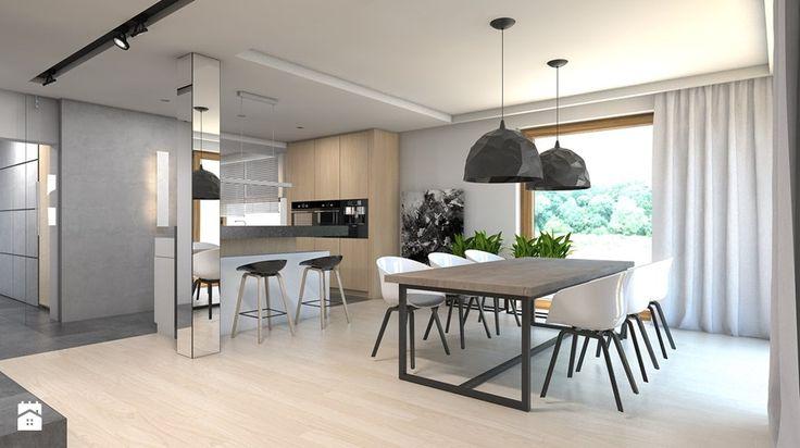 Dom w Przeszowicach - Duża otwarta jadalnia w salonie, styl nowoczesny - zdjęcie od A2 STUDIO pracownia architektury