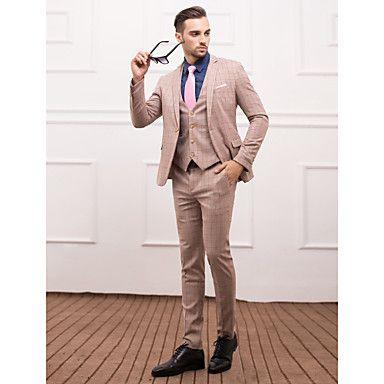 poliéster+de+color+marrón+claro+Slim+Fit+traje+de+tres+piezas+–+EUR+€+86.23