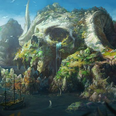 A mill village in the mountains by hee uk Jung on ArtStation. #FantasyLandscape