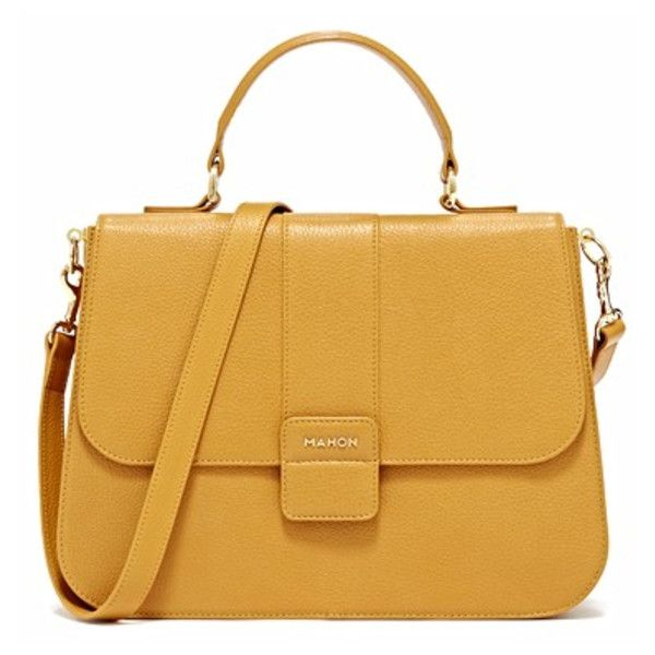 Mahon Protagonista Golden Yellow Satchel Bag ($3,135) ❤ liked on Polyvore featuring bags, handbags, purses, bolsas, sac, golden yellow, yellow leather purse, yellow leather handbag, leather satchel purse and leather satchel handbags