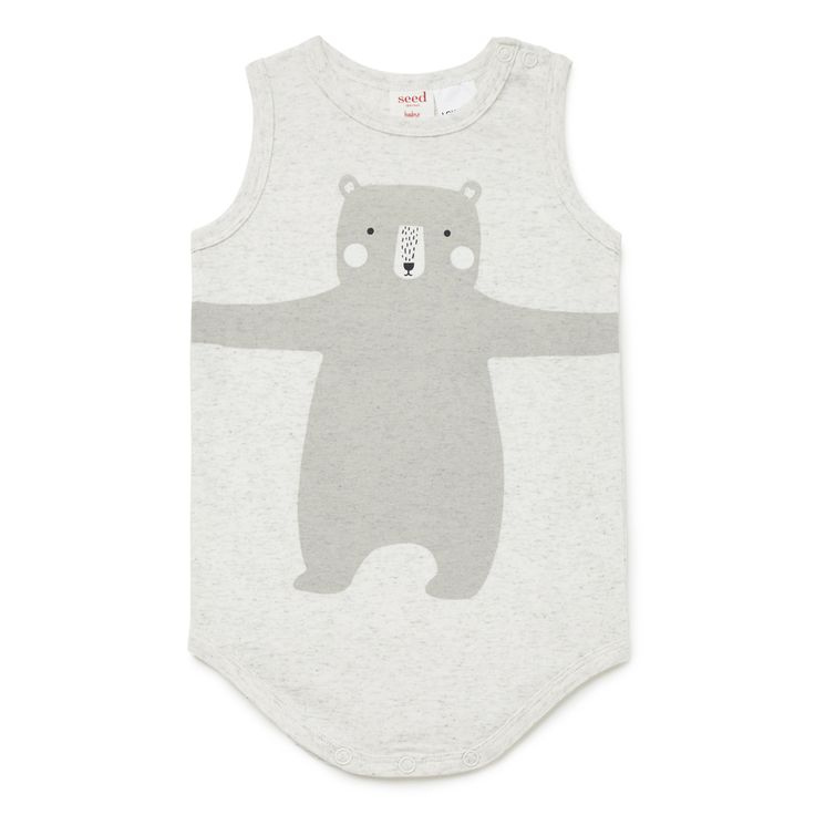 Cotton/Elastane blend Bodysuit. Sleeveless bodysuit, featuring oversized huggy bear placement print on front. Regular fitting silhouette with snaps on baby's left shoulder and at gusset for easy dressing. Available in Icy Marle.