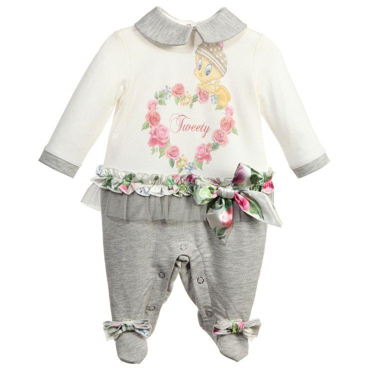 Monnalisa Girls Ivory & Grey 'Tweety' Modal Babygrow at Childrensalon.com