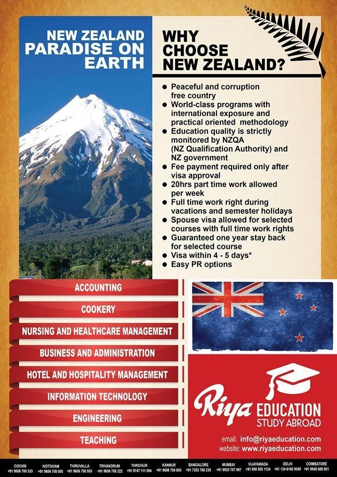 Study in NEW ZEALAND - Paradise on Earth!!! For more details on study abroad programs get in touch with Riya Education. Visit our website for contact details. #engineering #cookery #jobs #teaching #accounting