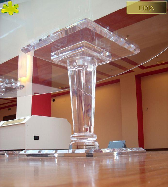 COLONNE IN PLEXIGLAS | Colonna in plexiglass 02.mod. FIDIA | Colonne plexiglass fusto diam.cm.20 - piani cm.60 x 60 sp.cm.4 - h.tot.cm.75