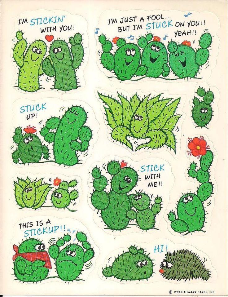 Cactus Pun Sticker Sheet   Hallmark Cards Inc 1983