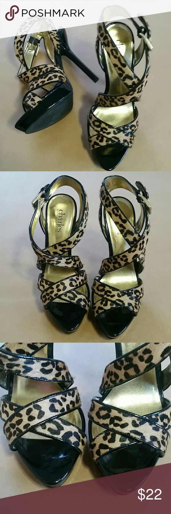 "Charles David super high heels size 6.5 Animal print strappy high heels from Charles by Charles David. Excellent used condition. A few superficial dings on heels - see photos. 5"" heel. Size 6.5. Charles David Shoes Heels"