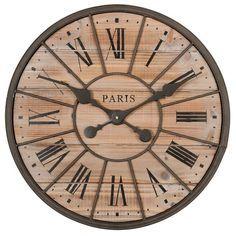 Horloge en métal et bois D 50 cm NORTHWOOD