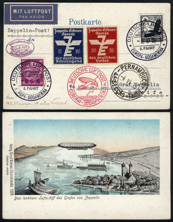 German Empire (1933/45, Third Reich), Nice PC with view of a Zeppelin, dispatched onboard the airship on 2/JUN/1935 to Brazil, excellent quality! Starting Price (11/2016): 50 USD.