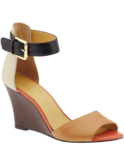 Nine West Ferdinand leather wedge sandals. Covers every color need in your  wardrobe: tan, black, ivory and brown.