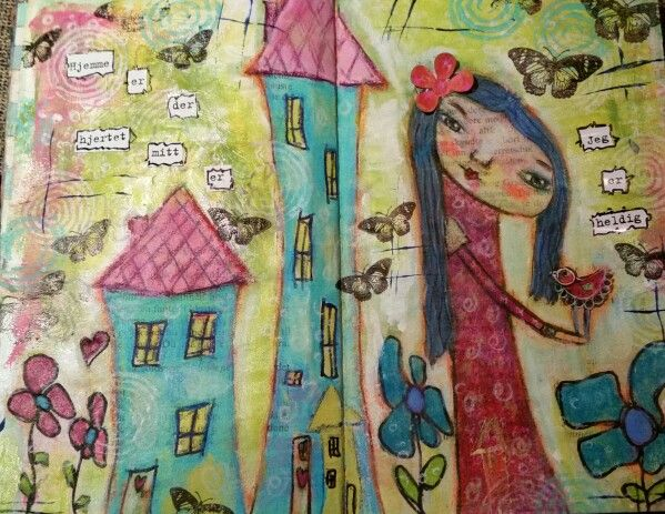 "Art journal page.  ""Home is where my heart is ""."