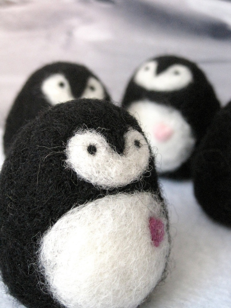 Needle Felted Penguin with Heart Stocking Stuffer via Etsy.