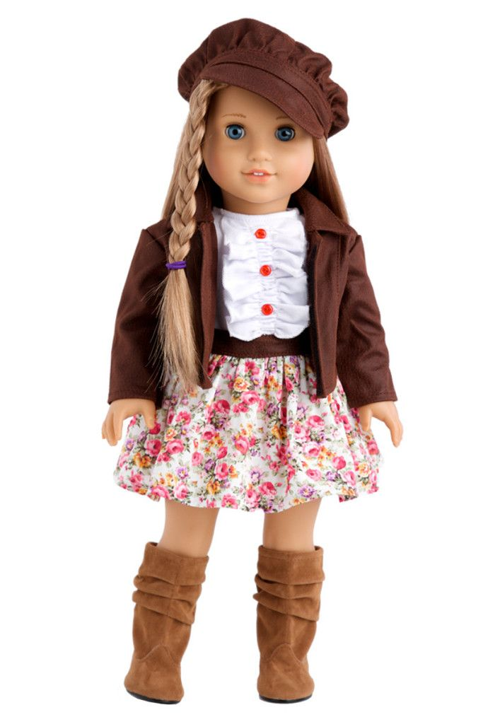 Brown faux leather motorcycle jacket with paperboy hat, pink flowery dress with white ruffled top and brown boots.  Doll outfit contains a wide back closure for easy dressing and clothing removal. Our doll clothes fits 18 inch American Girl dolls. Designed in the USA and sold Exclusively by DreamWorld Collections. DOLL(S) NOT INCLUDED U.S. CPSIA CHILDREN'S PRODUCTS SAFETY CERTIFIED