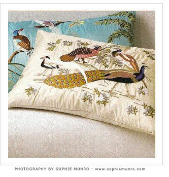 Exotic Bird Hand Embroidered Pillows
