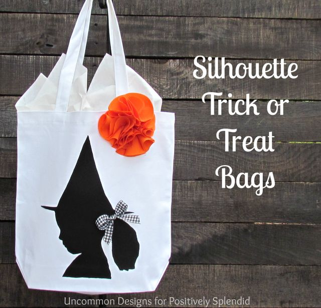 Positively Splendid {Crafts, Sewing, Recipes and Home Decor}: Custom Silhouette Trick or Treat Bags