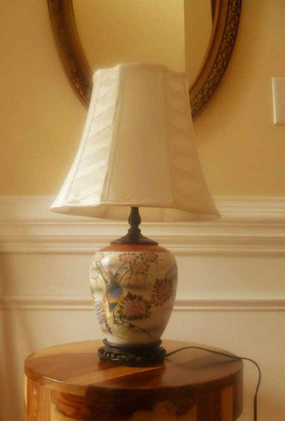 Porcelain Ginger Jar Lamp With Pea Detail Mid Century Chinoiserie Hollywood Regency Asian