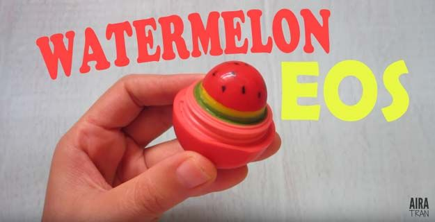 Best DIY EOS Projects - DIY Watermelon EOS - Turn Old EOS Containers Into Cool Crafts Ideas Like Lip Balm, Galaxy, Gumball Machine, and Watermelon - Fun, Cheap and Easy DIY Projects Tutorials and Videos for Teens, Tweens, Kids and Adults http://diyprojectsforteens.com/diy-eos-projects