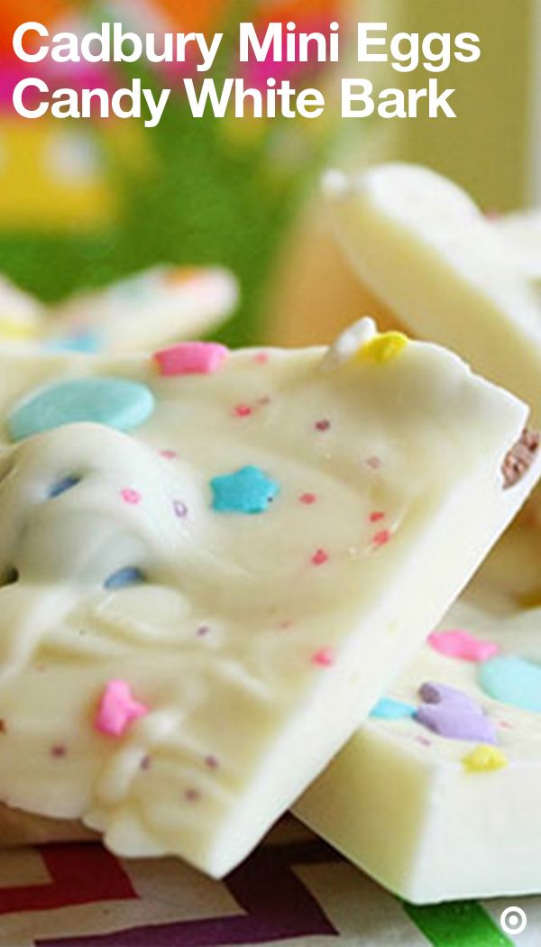 End your meal on a sweet note with this scrumptious homemade treat. Start by lining a tray or a cookie sheet with wax paper. Then place white chips in a large microwave-safe bowl & microwave until chips are melted. Don't forget to stir. Spread half of the melted chips onto the prepared tray. Sprinkle Mini Eggs & 1 tablespoon sprinkles over the melted chips. Drizzle the remaining mixture over surface & top with remaining sprinkles. Place in freezer until firm. Break into pieces & serve.