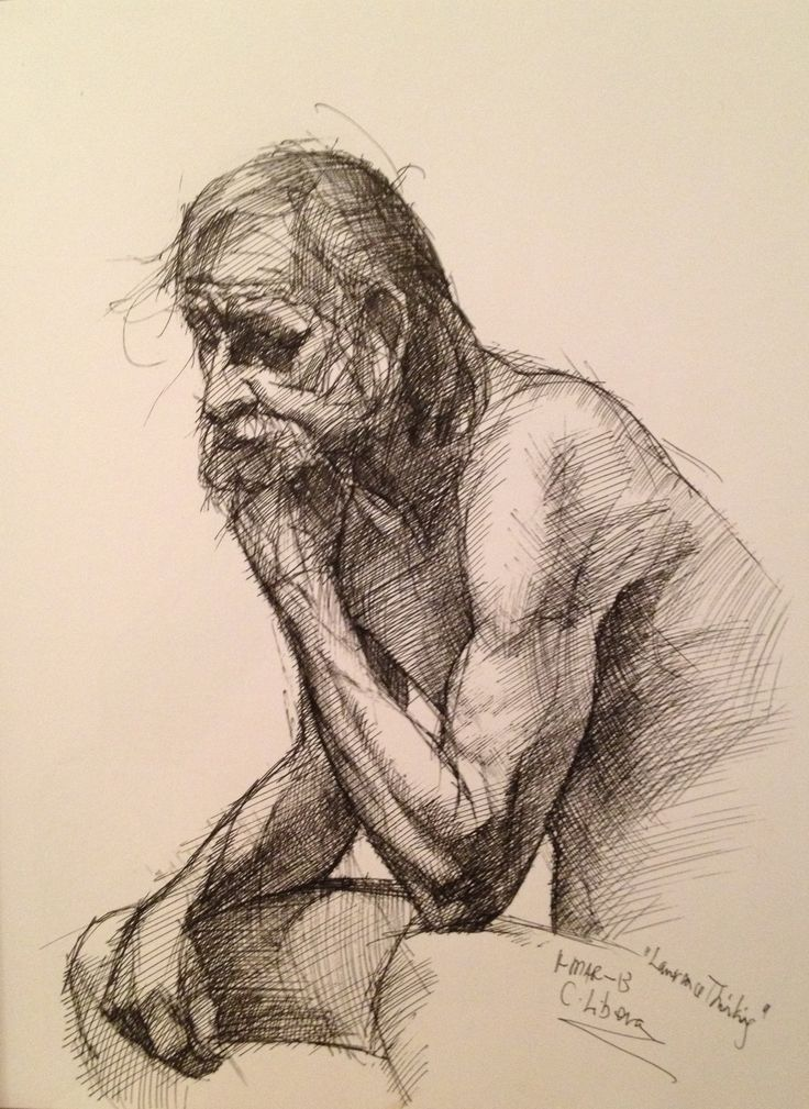 Thinking, pen on paper, Artist: Cyprian Libera