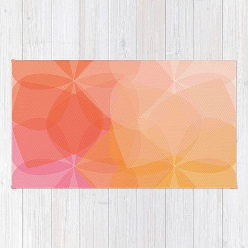 Modern Geometric Flower Area Rug Coral Orange Pink Peach
