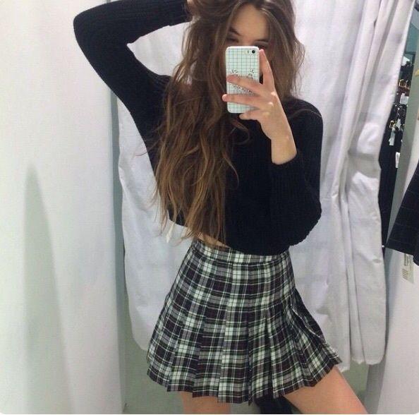 fashion, girl, grunge, hipster, plaid, pretty, shirt, skirt, tumblr