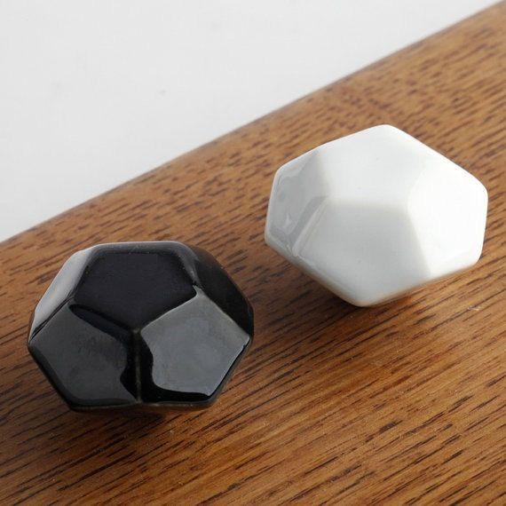 Black White Knobs Drawer Knob Dresser Knobs Ceramic Knobs Pulls Handles Antique Ceramic Furniture Hardware by Anglehome on Etsy